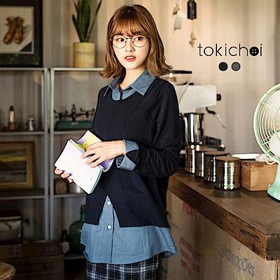 東京著衣 學院女孩針織單寧假兩件上衣-S.M(共二色)