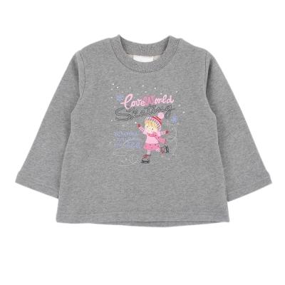 愛的世界-MYBEAR-純棉碎鑽溜冰女孩長袖上衣-灰-2-4歲