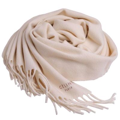 CELINE 品牌字母圖騰LOGO日本製流蘇披肩圍巾(米白)