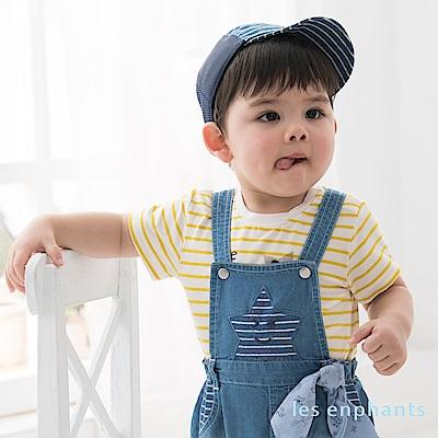 les enphants baby 快樂星星條紋天絲上衣 中黃