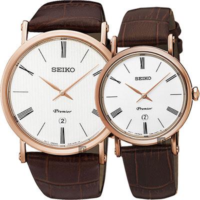 SEIKO 精工 Premier 系列超薄石英對錶(SKP398J1+SXB436J1)