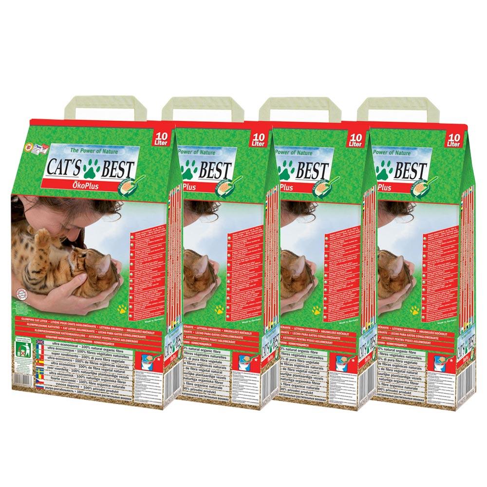 德國凱優CAT'S BEST 低粉塵細顆粒 凝結木屑砂-紅標10L X 4入