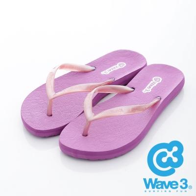 WAVE3【女】台灣製 蕾絲紋珠光耳帶人字夾腳拖鞋~紫