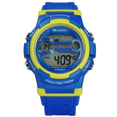 JAGA 捷卡 搶眼青春活力電子運動橡膠手錶-藍黃色/39mm