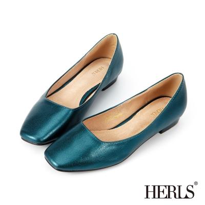 HERLS 內真皮 神秘銀河金屬感平底鞋-藍綠色