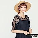H:CONNECT 韓國品牌 女裝 -簍空蕾絲繡花洋裝-黑 - 動態show