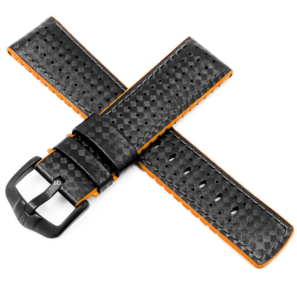 海奕施 HIRSCH Ayrton L 防水300米 複合皮革橡膠錶帶 碳纖維壓紋-黑X橘