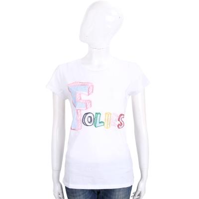 BLUGIRL-FOLIES 白色繽紛品牌字母圖案棉質短袖T恤