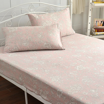 Saint Rose 暗香疏影-粉 雙人100%純天絲枕套床包三件組