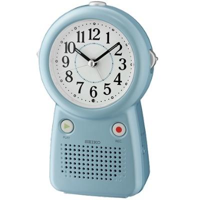 SEIKO 日本精工 滑動式秒針 可錄音鬧鈴(QHE158L)-藍/16.8X10.8cm