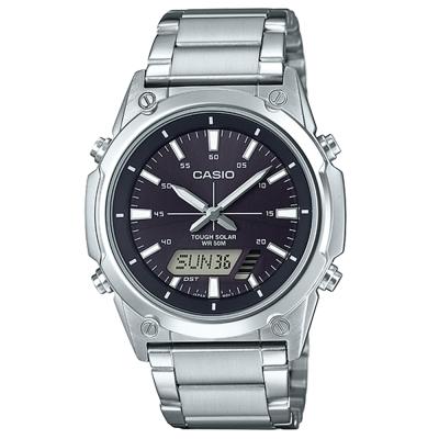 CASIO 實用商務雙重顯示太陽能電力雙顯不銹鋼錶(AMW-S820D-1A)黑面41.1mm