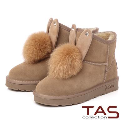 TAS 兔耳造型水鑽毛球麂皮雪靴-駝棕