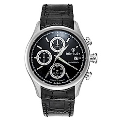 BENTLEY 賓利 Bourbon系列 計時手錶-黑/43mm