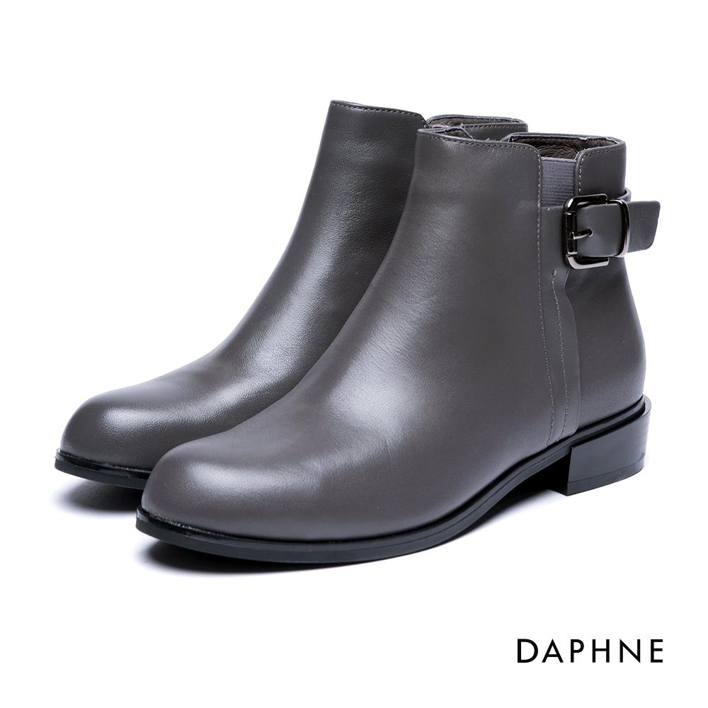 達芙妮DAPHNE 短靴-復古皮帶釦拼接牛皮粗跟踝靴-灰