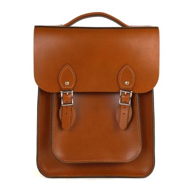 The Leather Satchel 英國原裝手工牛皮經典後揹包 手提包 倫敦棕