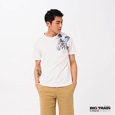 BIG TRAIN 登龍門鯉魚圓領短袖-男-芽白