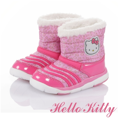 HelloKitty 蘋果豹紋系列 保暖減壓吸震抗菌高筒童鞋-粉色