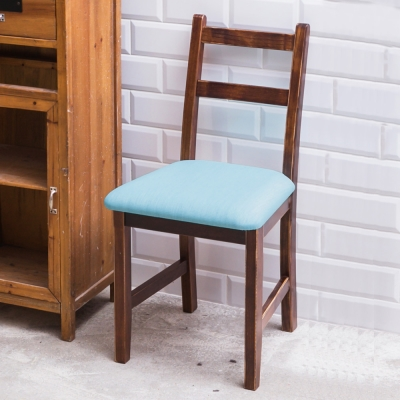 CiS自然行實木家具-北歐實木餐椅焦糖色湖水藍椅墊