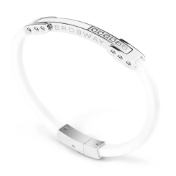 Brosway Ares 不鏽鋼橡皮手環 198mm 白色