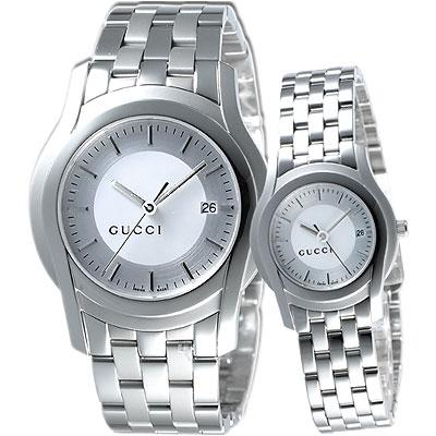 GUCCI G-Class 都會經典時尚對錶-銀白
