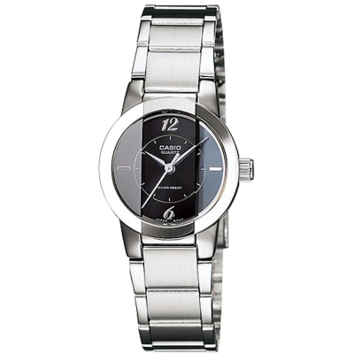 CASIO 氣質典雅直切面造型設計指針腕錶(LTP-1230D-1C)黑面/22mm