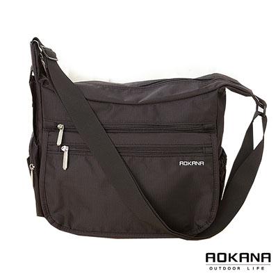 AOKANA奧卡納 MIT台灣製 YKK拉鍊 輕量防潑水多隔層大型側背包(黑)02-024