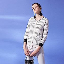 ICHE衣哲  黑白線條刺繡拼貼薄棉質針織外套