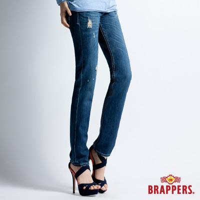 BRAPPERS-女款-Boy-Firend-Jeans-系列-女用3D反摺直統褲-藍