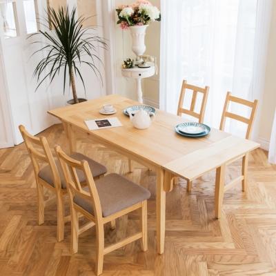CiS自然行-雙邊延伸實木餐桌椅組一桌四椅 74*166公分/原木+咖啡椅墊