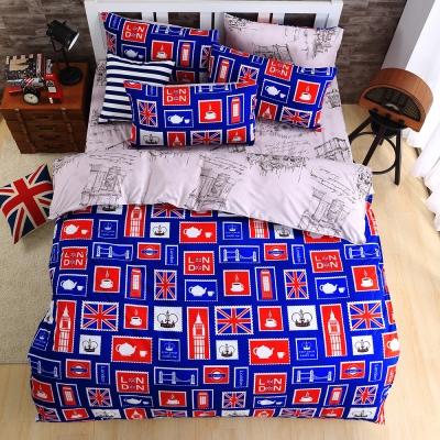 DON漫遊倫敦 雙人四件式蜜絲絨全舖棉兩用被床包組