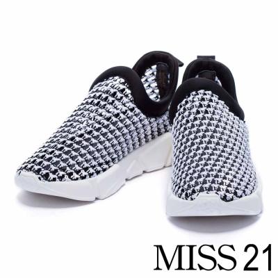 休閒鞋 MISS 21 拼色編織網布厚底休閒鞋-黑白