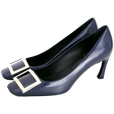 Roger Vivier Trompette 經典方框牛皮高跟鞋(深藍色)