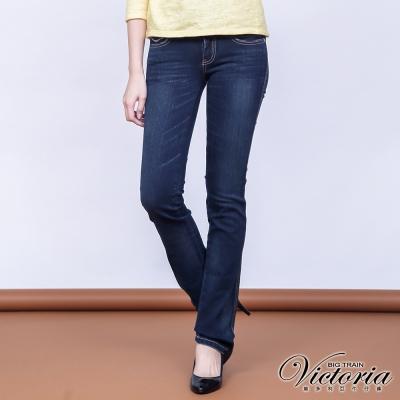 Victoria 基本V字鑽小直筒褲-女-深藍