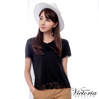 Victoria V領蕾絲剪接短袖T-女-黑