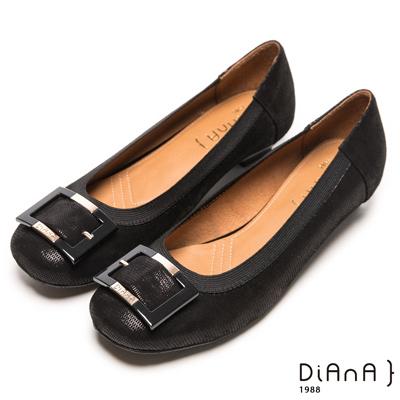 DIANA 典雅格調--簡約知性方釦滾邊壓紋真皮跟鞋-黑