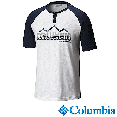 Columbia 哥倫比亞 男款純棉短袖LOGO上衣 白色UAE00930WT