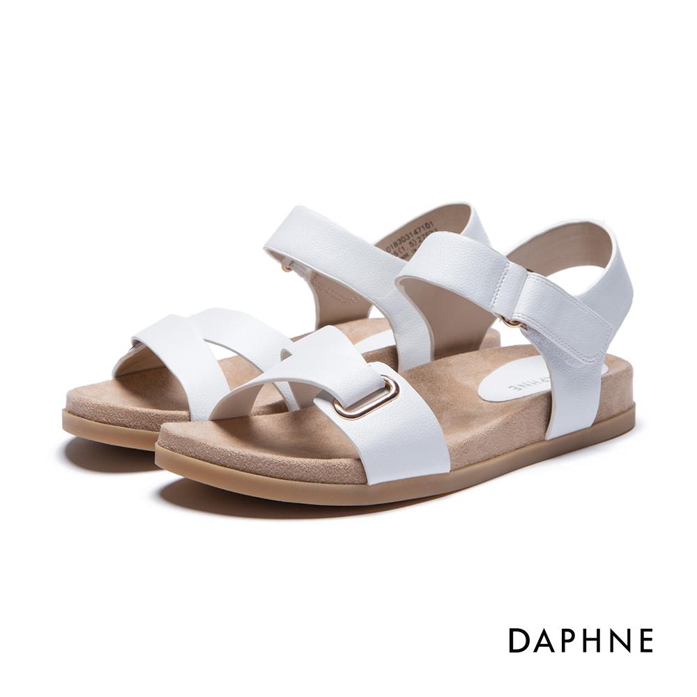 達芙妮DAPHNE 涼鞋-ㄑ型條帶魔鬼氈平底涼鞋-白