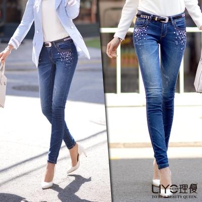 LIYO理優韓系褲子刷白牛仔長褲-藍