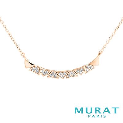 MURAT Paris米哈巴黎 交疊三角曲線項鍊(玫瑰金)
