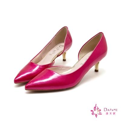 達芙妮DAPHNE-時尚優雅尖頭中跟鞋-熱情桃紅