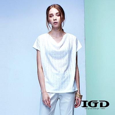 IGD英格麗 天絲棉羅馬領條紋造型上衣-白色