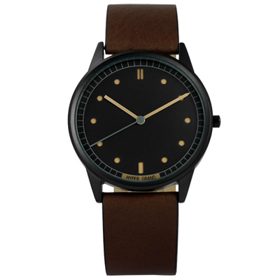 HyperGrand NATO 極簡工業簡約真皮手錶-黑x棕/38mm