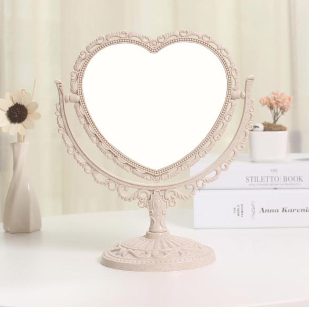 幸福揚邑 歐式麥稈化妝鏡旋轉放大雙面桌鏡-心形米