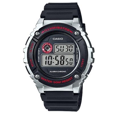 CASIO 元氣數位美學實用必備休閒錶(W-216H-1C)-黑x銀框/43mm