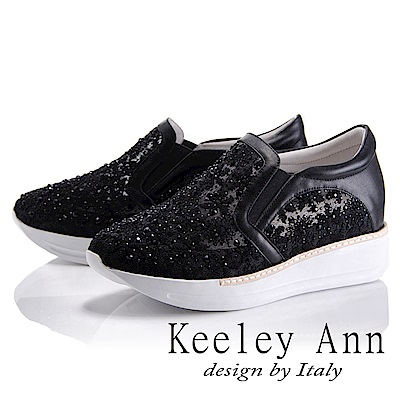 Keeley Ann 簡約美感~亮澤水鑽透膚網紗真皮軟墊休閒鞋(黑色-Asin系列)