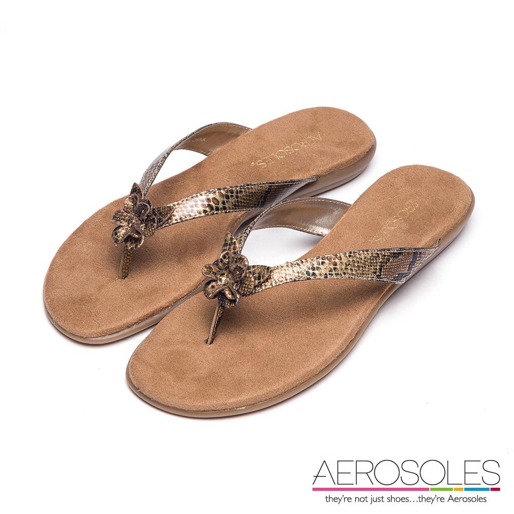 AEROSOLES 立體花瓣人字夾腳涼鞋~ 蟒蛇金色