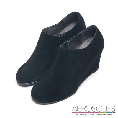 AEROSOLES-極簡都會麂皮拉鍊楔型踝靴-墨黑