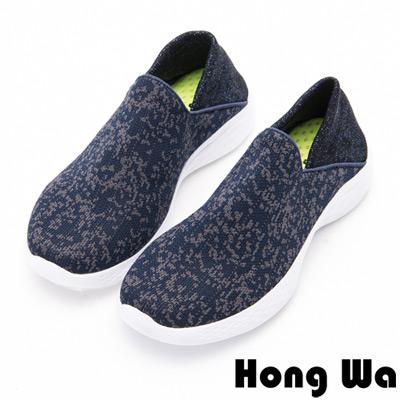 Hong Wa - 懶人運動休閒風格雪花布鞋-藍