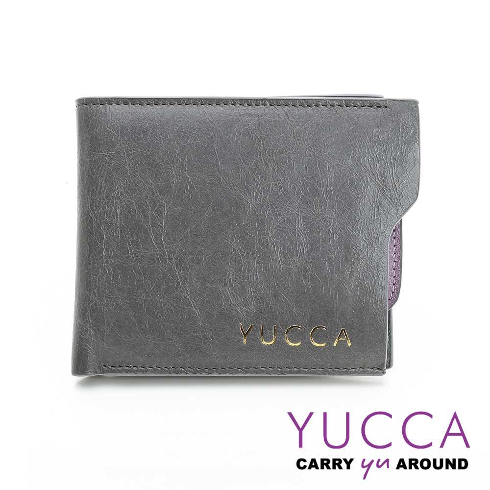 YUCCA -個性雙色系牛皮短夾(活動式卡夾)- 灰色- D0038030030