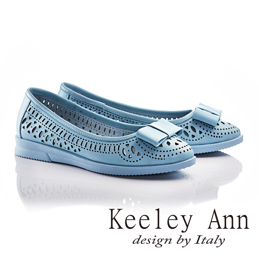 Keeley Ann少女系蝴蝶結OL雕刻鏤空平底鞋(藍色-Ann系列)